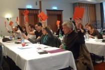 Die SSM-Delegierten unterstützen die Resolution einstimmig.
